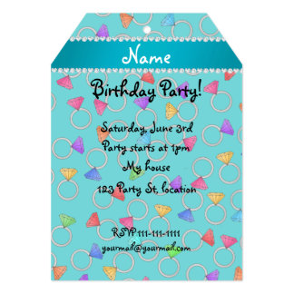 Personalized name turquoise rainbow diamond ring 5x7 paper invitation card