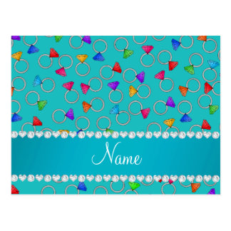 Personalized name turquoise rainbow diamond ring postcard