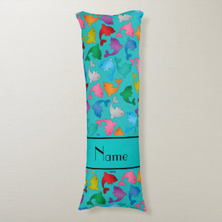 Personalized name turquoise rainbow dolphins body pillow