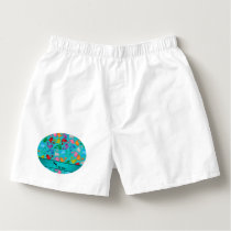 Personalized name turquoise rainbow dolphins boxers