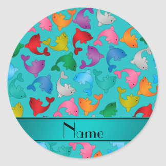 Personalized name turquoise rainbow dolphins classic round sticker
