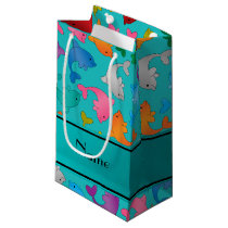 Personalized name turquoise rainbow dolphins small gift bag