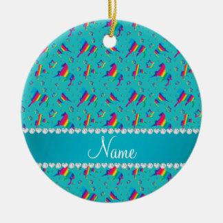 Personalized name turquoise rainbow horses stars ceramic ornament