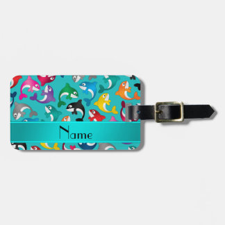 Personalized name turquoise rainbow killer whales bag tag