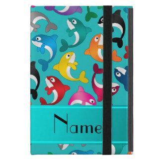 Personalized name turquoise rainbow killer whales iPad mini case