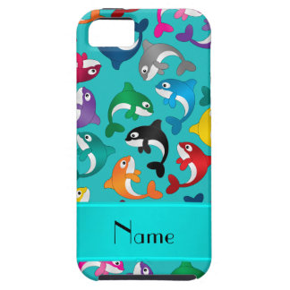 Personalized name turquoise rainbow killer whales iPhone SE/5/5s case