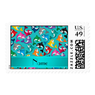 Personalized name turquoise rainbow killer whales stamp
