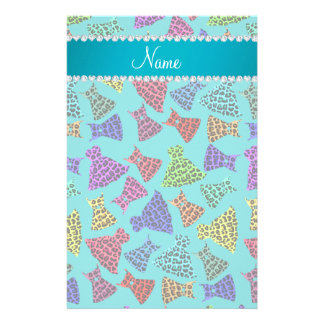 Personalized name turquoise rainbow leopard dress stationery