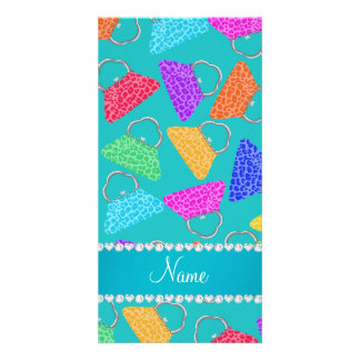 Personalized name turquoise rainbow leopard purses photo card