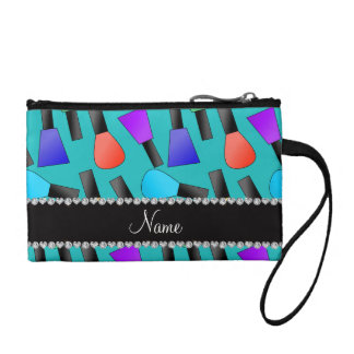 Personalized name turquoise rainbow nail polish change purses