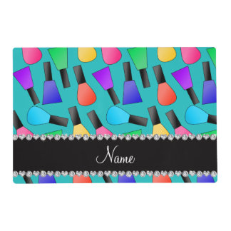 Personalized name turquoise rainbow nail polish placemat