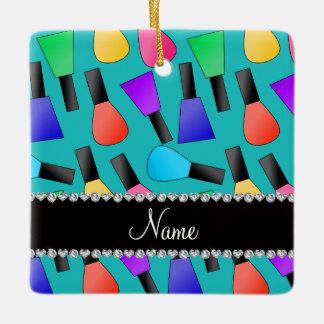 Personalized name turquoise rainbow nail polish square ornament