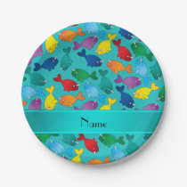 Personalized name turquoise rainbow narwhals paper plate