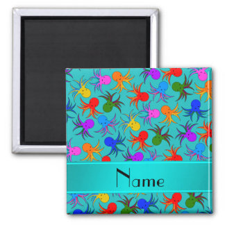 Personalized name turquoise rainbow octopus 2 inch square magnet