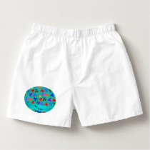 Personalized name turquoise rainbow octopus boxers