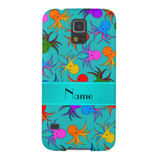 Personalized name turquoise rainbow octopus galaxy s5 case