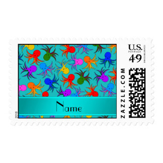 Personalized name turquoise rainbow octopus postage