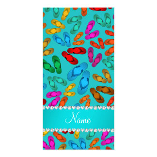 Personalized name turquoise rainbow sandals picture card