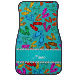 Personalized name turquoise rainbow sandals car mat