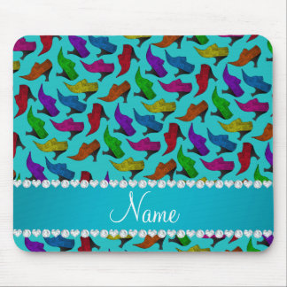 Personalized name turquoise rainbow vintage shoes mouse pad
