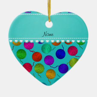 Personalized name turquoise rainbow yarn balls Double-Sided heart ceramic christmas ornament