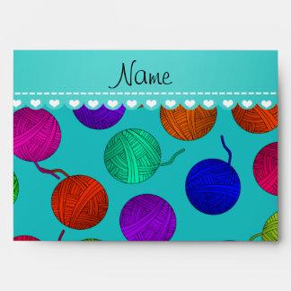 Personalized name turquoise rainbow yarn balls envelope