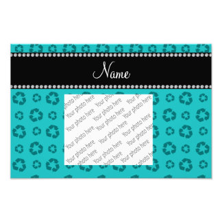 Personalized name turquoise recycling pattern photo print