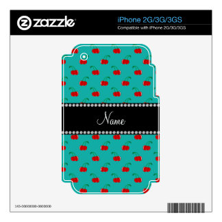 Personalized name turquoise red cherry pattern skin for the iPhone 2G