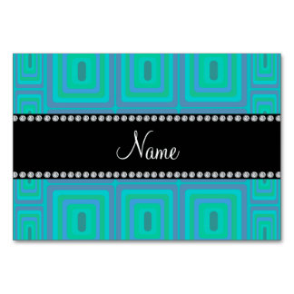 Personalized name turquoise retro colorful squares table cards