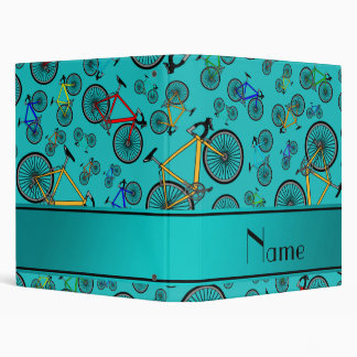 Personalized name turquoise road bikes 3 ring binder