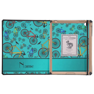 Personalized name turquoise road bikes iPad cases