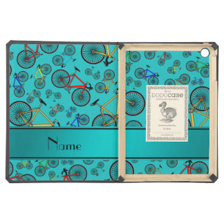 Personalized name turquoise road bikes iPad air case