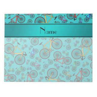 Personalized name turquoise road bikes notepad
