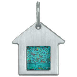 Personalized name turquoise road bikes pet name tags