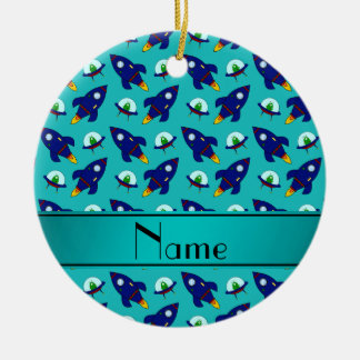 Personalized name turquoise rocket alien ships ceramic ornament