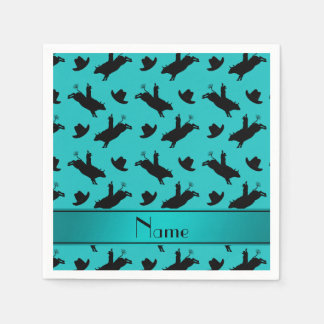 Personalized name turquoise rodeo bull riding standard cocktail napkin