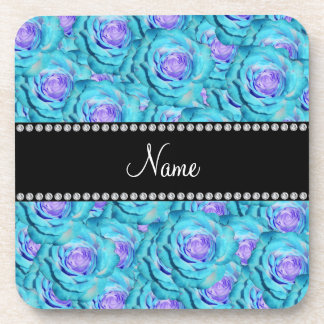 Personalized name Turquoise roses Coaster
