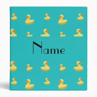 Personalized name turquoise rubber duck pattern 3 ring binder