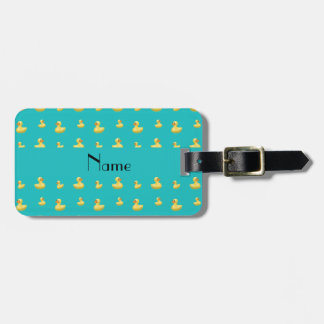 Personalized name turquoise rubber duck pattern bag tag