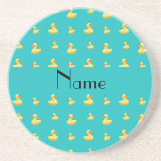 Personalized name turquoise rubber duck pattern beverage coasters