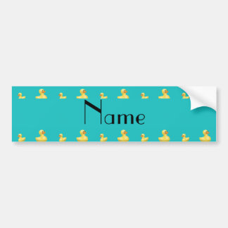 Personalized name turquoise rubber duck pattern bumper sticker