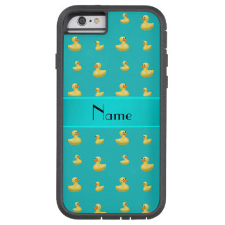 Personalized name turquoise rubber duck pattern tough xtreme iPhone 6 case