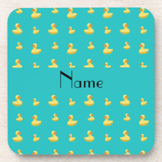 Personalized name turquoise rubber duck pattern coasters