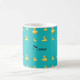 Personalized name turquoise rubber duck pattern coffee mug