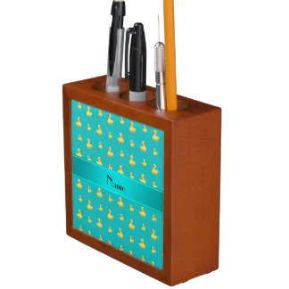 Personalized name turquoise rubber duck pattern pencil holder
