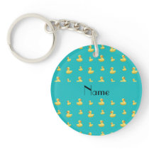 Personalized name turquoise rubber duck pattern keychain