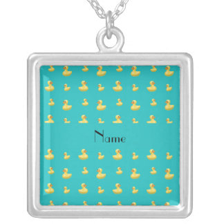 Personalized name turquoise rubber duck pattern necklaces