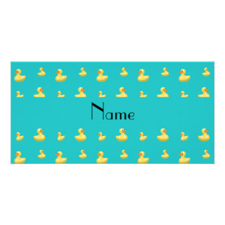Personalized name turquoise rubber duck pattern photo card