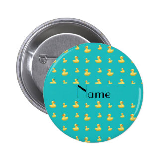 Personalized name turquoise rubber duck pattern pinback button