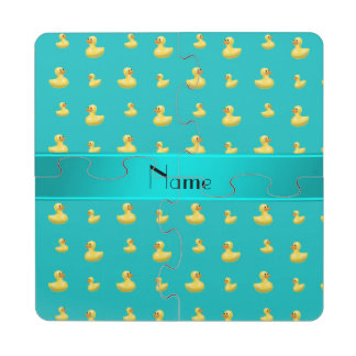 Personalized name turquoise rubber duck pattern puzzle coaster